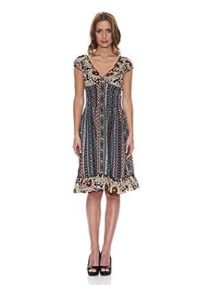 Peace & Love Kleid gemustert (schwarz)