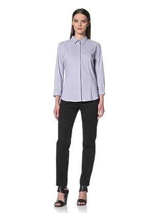 JIL SANDER NAVY Women's Fine Stripe Button Front Shirt (Navy)