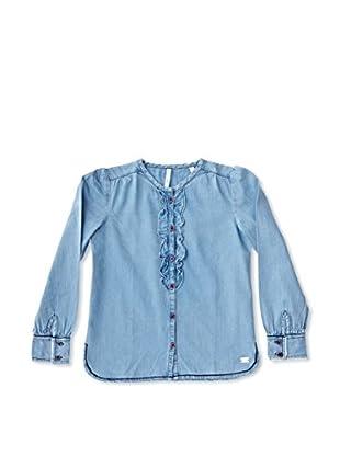 New Caro Blusa Chorreras Niña (Azul Denim)