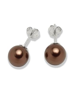 Perldor 60650091 - Pendientes de mujer de plata de ley con perla natural Marrón