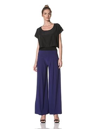 Norma Kamali Women's Wide Pleat Pant (Cobalt)