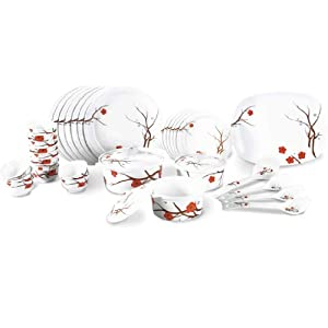 Borosil Melamine Blossom Milano Dinner Set, 35-Pieces