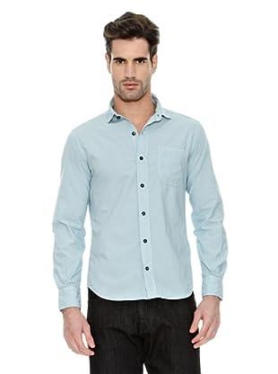 STONE ISLAND Camisa Manga Larga Puños Abotonados Bolsillo Frontal Abierto (Azul)
