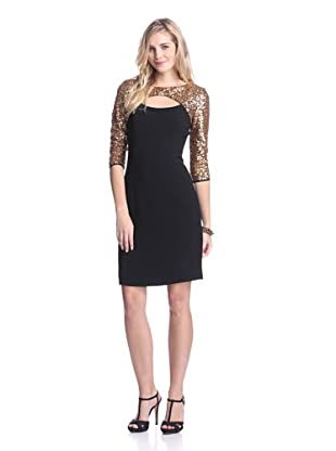 Nue by Shani Women's Keyhole Dress with Sequins (Gold/Black)