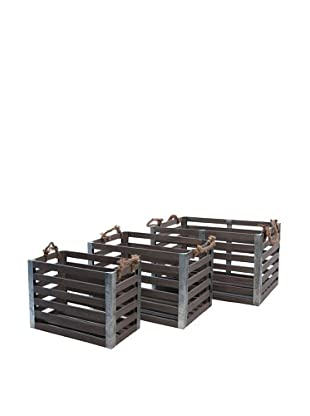 Skalny Set of 3 Rectangular Wood/Metal Crates