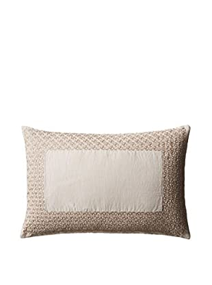 Vera Wang Basketweave Texture Embroidered Pillow, Natural