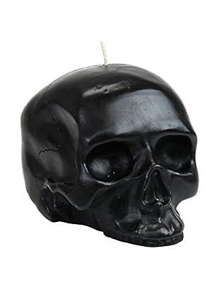 D.L. & Co. Medium Black Skull Candle