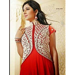 Disha Parmar(Pankhuri) Red Colour Faux Georgette Anarkali Salwar Kameez