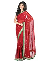 Cardinal Red Pure Georgette Embroidered Saree
