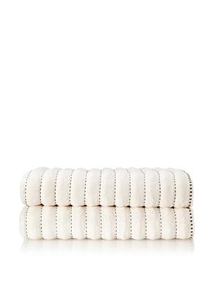 Famous International Stitches 2-Piece Bath Sheet Set (Ivory/Choc)