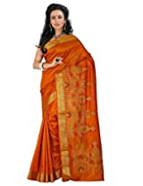 Roopkala Mustard Raw Silk Embroidery Saree