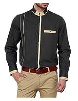 Dazzio Men's Slim Fit Cotton Casual Shirt (DZSH0132_Grey_44)
