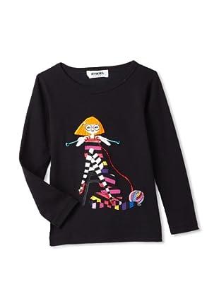 Sonia Rykiel Girl's Long Sleeve Top with Girl Print (Black)