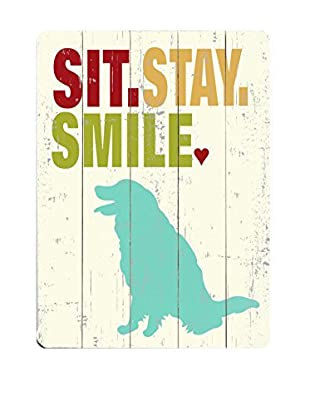 Artehouse Sit. Stay. Smile. Wood Wall Décor (White/Aqua)