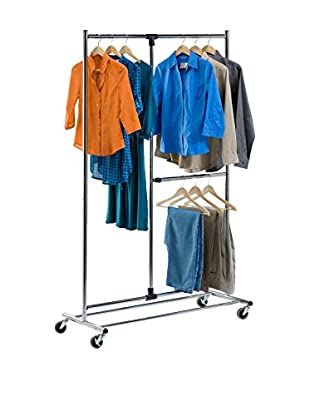 Honey-Can-Do Dual Bar Chrome Adjustable Garment Rack