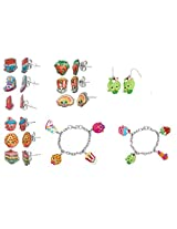 Shopkins Stainless Steel Earring Sets + Shopkins Painted Character Charm Bracelet + More !