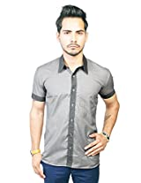 Trendster Grey With Dardk Grey Boarder Half Sleeve Casual Shirt