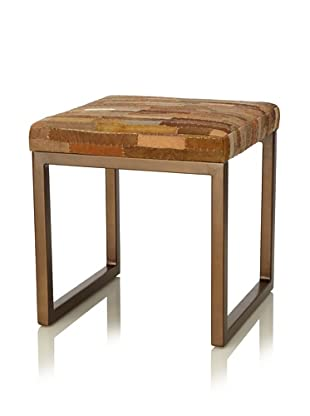 Palecek Leather Patchwork Stool, Multi\/Antiqued Bronze