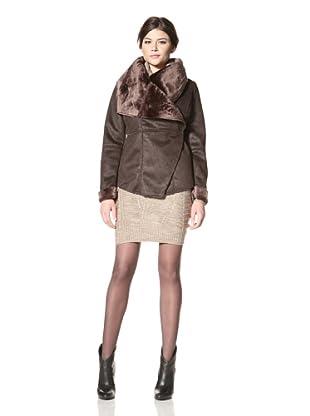 LatteBLACK Women's Faux Shearling Wrap Jacket (Chocolate)