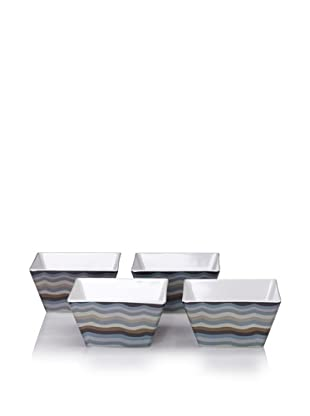 Bongenre Set of 4 Jazz Grey Square Bows (Grey/Brown)