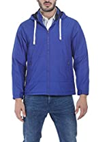 Zobello Men's Polyester Padded Full Sleeves Hooded Cire Jacket(51070D_Royal_Small)