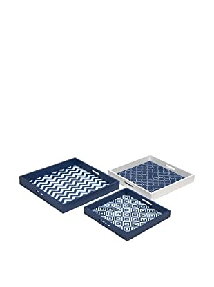 Set of 3 Essentials Graphic Trays, Navy
