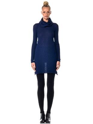 Eccentrica Kleid mit großem Ringelkragen (Blau)