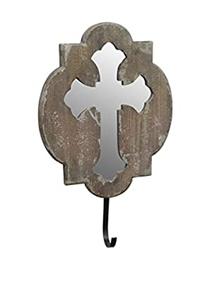 Three Hands Cross Mirror with Hook, Brown
