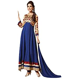 Sonali Bendre Blue & Peach Anarkali Suit