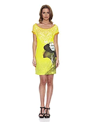Peace & Love Kleid gemustert (gelb)