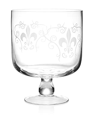 Home Essentials Etched Fleur-de-Lis Trifle Bowl