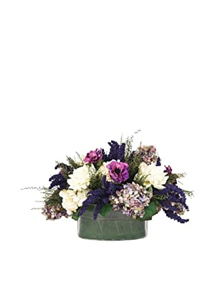Creative Displays Purple & White Hydrangea, Rose & Anemone Floral in Glass
