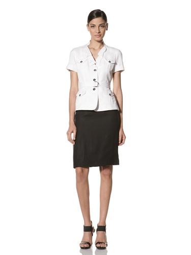 Tahari by A.S.L. Women's Safari Skirt Suit (White/Black)