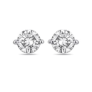 Voylla Sterling Silver Stud Earrings Made With Swarovski Zirconia