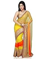 Utsav Fashion Women's Yellow Net Saree with Blouse