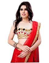 Red Color Net And Raw Silk Lehenga