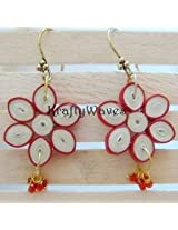 Krafty Waves Paper quilled Earrings - Red & Offwhite