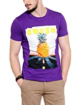 Yepme Men's Purple Graphic T-shirt -YPMTEES0210_M