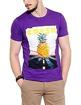 Yepme Men's Purple Graphic Cotton T-shirt -YPMTEES0210_L