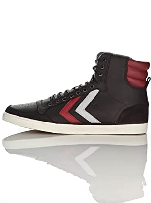 Hummel Zapatillas Abotinadas Ten Star Oiled High Unisex (Negro/Rojo)