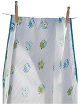 Angel Dear Muslin Nap Blanket, Blue Owl