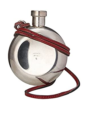 Hermès Silver Flask with Leather Strap, Silver/Red