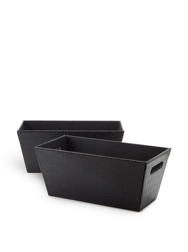 Wald Imports Set of 2 Faux Leather Organization Totes (Black)