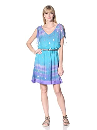 Hale Bob Women's Flutter Sleeve Dress (Teal)