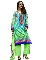 Admyrin Shaded Cotton Salwar Kameez with Green Chikan Work Bottom and Dupatta