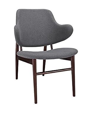 Modway Cherish Wood Lounge Chair, Dark Grey