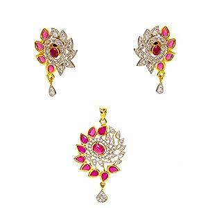 Daamak Jewellery Ruby With Cubic Zircon Pendant Set jewellery Set