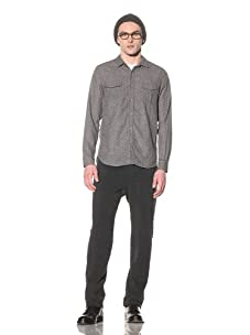 Steven Alan Men's Midwestern Long Sleeve Shirt (Grey/White Floral Print)