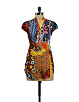 Stylish Orange Printed Kurti