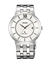 Orient Quartz Men White Dial Silver Metal Strap Round Shape, Made in Japan